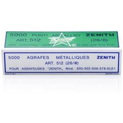 Punti metallici ZENITH 512/E mis. 26/8 - 1 scatola da 5000pz