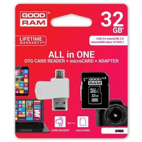 microSD 32GB CARD class 10 + adpter + card reader - blister