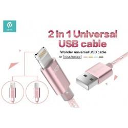 Cavo Universale 1.5mt Micro USB & Lightning in Corda Silver