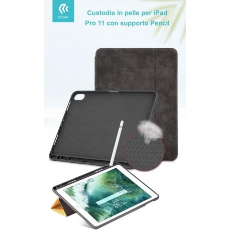 Cover in Pelle con Supporto Pencil per iPad Pro 11 Nera